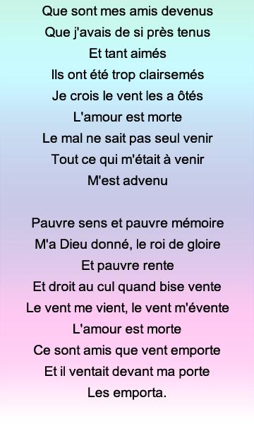 Exercice De Mémoire Poème En Puzzle La Complainte De
